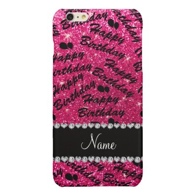 Name rose pink glitter happy birthday balloons glossy iPhone 6 plus case