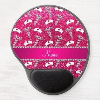 Name rose pink glitter nurse hats silver caduceus gel mouse pad