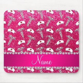 Name rose pink glitter nurse hats silver caduceus mouse pad