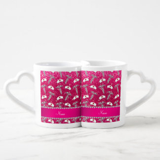 Name rose pink glitter nurse hats silver caduceus couples' coffee mug set