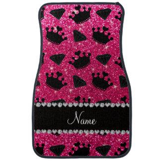 Name rose pink glitter princess crowns diamonds car mat