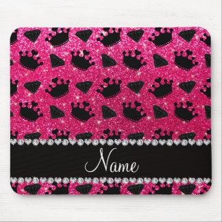 Name rose pink glitter princess crowns diamonds mouse pad