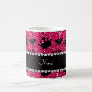 Name rose pink glitter princess crowns diamonds coffee mug