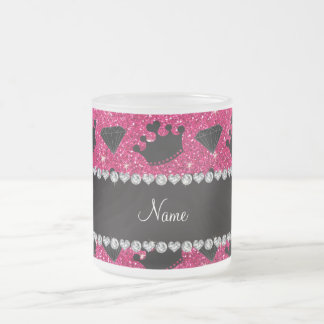 Name rose pink glitter princess crowns diamonds coffee mugs