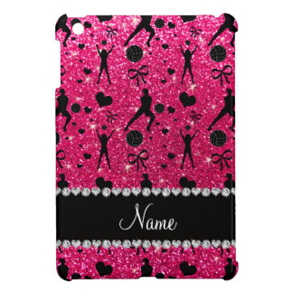 Name rose pink glitter volleyballs hearts bows iPad mini cover