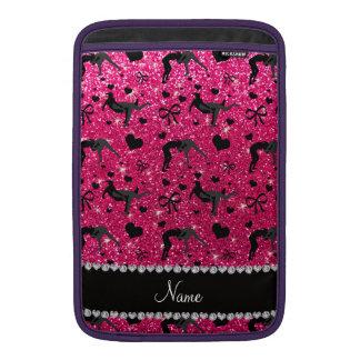Name rose pink glitter wrestling hearts bows MacBook sleeve