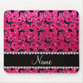 Name rose pink glitter wrestling hearts bows mouse pad