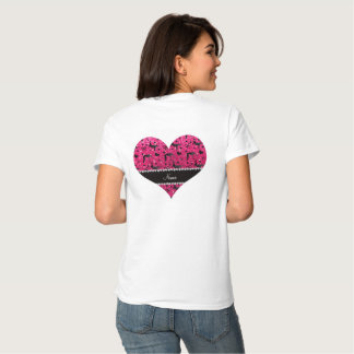 Name rose pink glitter wrestling hearts bows t shirt