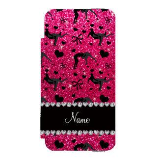 Name rose pink glitter wrestling hearts bows wallet case for iPhone SE/5/5s
