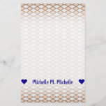 [ Thumbnail: Name; Rustic Beige and Gray Diamond Shape Pattern Stationery ]