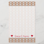 [ Thumbnail: Name + Rustic Beige and Gray Diamond Shape Pattern Stationery ]