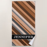 [ Thumbnail: Name; Rustic, Earthy Brown, Beige and Grey Stripes Beach Towel ]