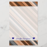[ Thumbnail: Name; Rustic, Earthy Brown, Beige and Grey Stripes Stationery ]