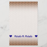 [ Thumbnail: Name; Rustic Light Brown & Dark Brown Wavy Pattern Stationery ]