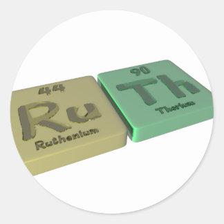 name-Ruth-Ru-Th-Ruthenium-Thorium Classic Round Sticker