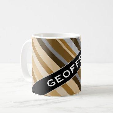 Beach Themed Name   Sandy Beach Colors Inspired Striped Pattern Coffee Mug