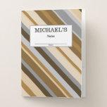 [ Thumbnail: Name + Sandy Beach Colors Inspired Striped Pattern Pocket Folder ]