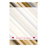 [ Thumbnail: Name + Sandy Beach Colors Inspired Striped Pattern Stationery ]