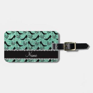 Name seafoam green glitter black high heels bow bag tag