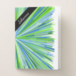 [ Thumbnail: Name + Shades of Green and Blue Line Burst Pattern Pocket Folder ]
