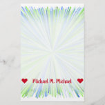 [ Thumbnail: Name; Shades of Green and Blue Line Burst Pattern Stationery ]