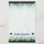 [ Thumbnail: Name; Shades of Green/Blue Line Burst Pattern Stationery ]