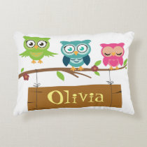 Name sign design with cute owl elements for kids. decorative pillow