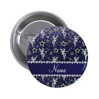 Name silver fairy gold stars blue glitter 2 inch round button