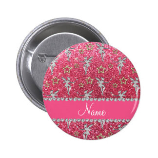Name silver fairy gold stars neon hot pink glitter 2 inch round button