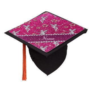 name silver fairy gold stars neon hot pink glitter graduation cap topper
