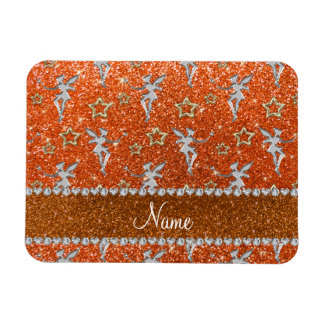 Name silver fairy gold stars orange glitter rectangular photo magnet