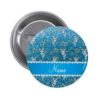 Name silver fairy gold stars sky blue glitter 2 inch round button