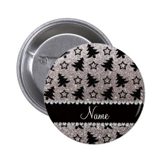 Name silver glitter christmas trees stars pins