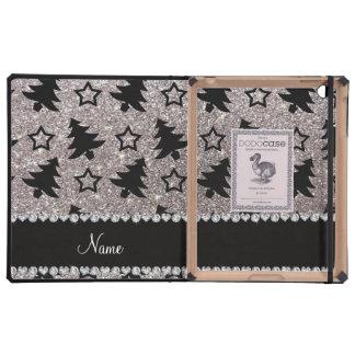 Name silver glitter christmas trees stars iPad folio case