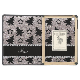 Name silver glitter christmas trees stars iPad air covers