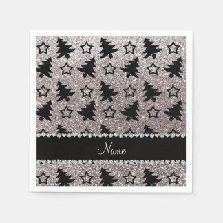 Name silver glitter christmas trees stars disposable napkin