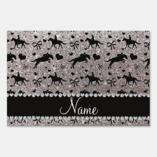 Name silver glitter equestrian hearts bows sign