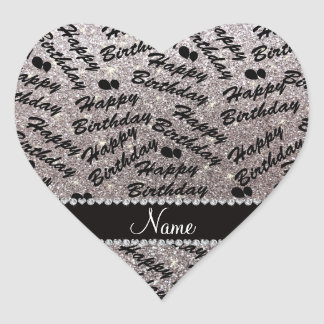 Name silver glitter happy birthday balloons heart sticker