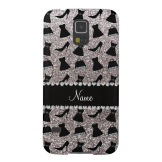 Name silver glitter high heels dress purses case for galaxy s5