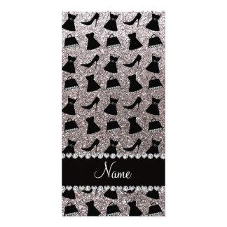 Name silver glitter high heels dress purses photo card