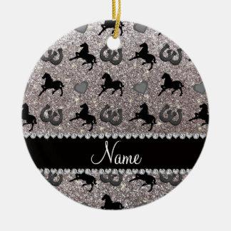 Name silver glitter horses hearts horseshoe ceramic ornament