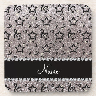 Name silver glitter music notes stars coaster