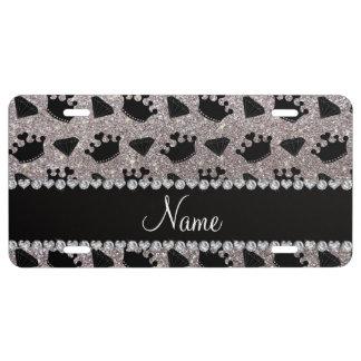 Name silver glitter princess crowns diamonds license plate