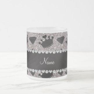 Name silver glitter princess crowns diamonds mug