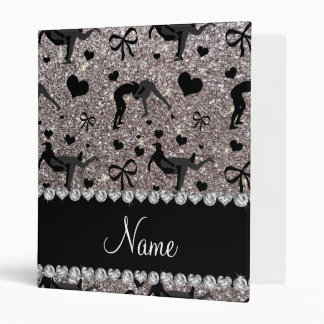 Name silver glitter wrestling hearts bows 3 ring binder