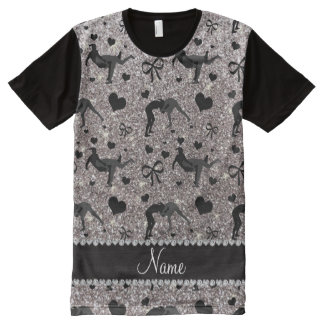 Name silver glitter wrestling hearts bows All-Over print t-shirt