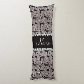 Name silver glitter wrestling hearts bows body pillow