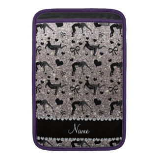 Name silver glitter wrestling hearts bows MacBook air sleeve