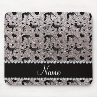 Name silver glitter wrestling hearts bows mouse pad