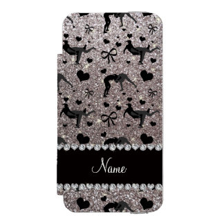 Name silver glitter wrestling hearts bows wallet case for iPhone SE/5/5s
